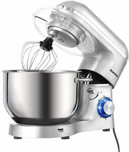 Aucma Mixeur pétrisseur, 1400 W, robot pétrisseur avec 6,2 l acier inoxydable Bowl 6 niveaux de vitesse mixeur électrique de cuisine avec crochet pour pâte, fouet et et fouet