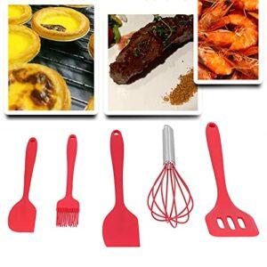 Gedourain Brosse à Huile, Outil de Cuisson d'ustensiles de Cuisine Bricolage Batteur à Oeufs pour la Maison pour la Boulangerie(Red 5-Piece Set)