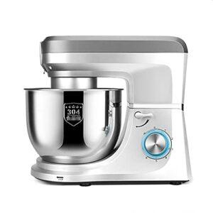 Kitchen Chef Machine Robot de cuisine haute capacité avec tête inclinable, mixeur électrique à 6 vitesses, crochet pour pétrissage inclus, fouet – Blanc