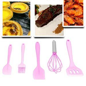 minifinker Brosse à Huile, Outil de Cuisson de Batteur à Oeufs de décoration de gâteau pour la Boulangerie pour la Maison(Pink 5-Piece Set)