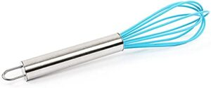 ZFQZKK Whisk mini-silicone whisk multifonctionnel rotatif manuel manuel batteur d'oeuf en acier inoxydable cuisson outil agitateur de cuisine gadgets de cuisine fouet à oeufs (Color : Blue)