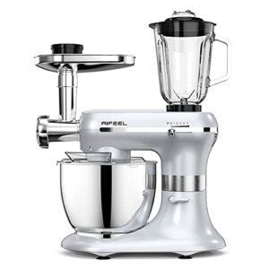 Aifeel 1200W Robot Pâtissier 6 en 1 Multifonctions Robot de cuisine 5,5L Bol Pétrin avec Crochet Pétrisseur, Batteur, Fouet à Fil, mixeur, Hachoir à viande etc, 5 Vitesses avec Fonction Pulse-Argent