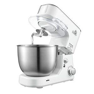 Machine de pétrissage 5L de ménage, petite machine à cuire automatique, mélangeur de pétrissage multi-fonction, fouet (blanc; 33,9 * 22,7 * 32,3 cm)