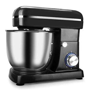 Batteur sur socle, mélangeur à pâte avec bol de 5 L et protection contre les éclaboussures avec batteur à 6 vitesses, crochet à pâte et fouet pour gâteaux, pâtes, pain, desserts