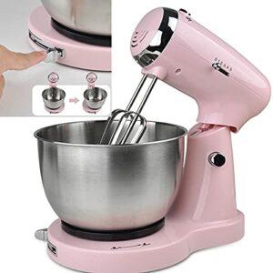 Batteur Sur Socle, Robot Pâtissier, Mélangeur à Pâte-350w Pour Cuisson Avec Bol, Mélangeur à Pâte, Batteur/crochet à Pâte 2-en-1 – (accessoires Lavables Au Lave-vaisselle) (Rose)