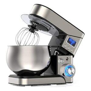 Mélangeur sur socle, mélangeur électrique de cuisine à écran LCD, mélangeur à tête inclinable à 6 vitesses + P avec bol en acier inoxydable, crochet pétrisseur, batteur, fouet