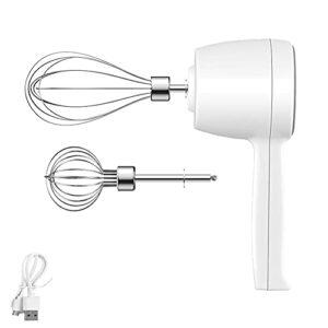 Rechargeable Batteur électrique Sans fil par USB, 5 Vitesses 304 Fouet Automatique en Acier Inoxydable, Mixeur Plongeant Multifonction, Batteur Portable à Oeufs Electrique Cuisine