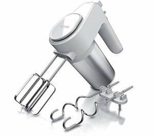 Arendo – Batteur à Main 400W, Batteur Électrique de cuisine, 6 vitesses, bouton Turbo, Fusible thermique, 2 Fouets et 2 crochets à pâte en inox, Support, pâte pâtissier, blanc d'œufs, crèmes, sauces