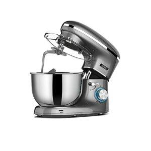 CLING Mélangeurs sur Socle ménagers 6 + mélangeur pâte Alimentaire à Vitesse p 6.2L avec Batteur à Crochet à pâte et Fouet à œufs pour Biscuit à la Meringue à la crème au Beurre 1300W