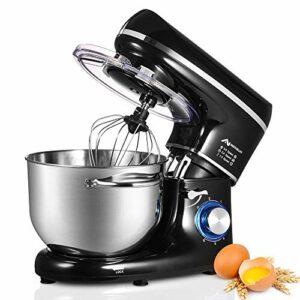 Nidouillet Robot Pâtissier, Mixeur Électriques de Cuisine, 6 vitesses, Mixeur à Aliments avec Crochet Pétrisseur, Fouet et Batteur en acier Inoxydable, Bol en Acier Inoxydable