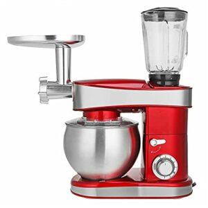 Robot Patissier Bouchon De Nourriture De 3 sur 1 220V-240V 50Hz 1200W Machine De Cuisine Mixeuse pour Le Malaxage de Cookie (Couleur : Red, Size : 6.5L)