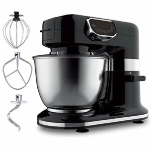 Robot Pâtissier Robot De Cuisine, 5 Vitesses Électrique Type De Cuisine Mélangeurs, Acier Inoxydable 4 L Jatte, K-Batteur, Crochet Pétrisseur, Fouet 1200 W