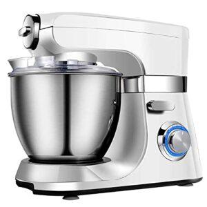 Mélangeur sur socle 5L1000W Mélangeurs cuisine électriques à tête inclinable à 8 vitesses avec crochet à pâte, fouet, batteur, protection contre les éclaboussures et bol à mélanger pour la cuisson