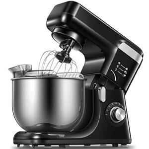 Robot Pâtissier 8 Vitesses Robot pétrin multifonction avec Bol 5.5L, Batteur, Fouet, Crochet, Robot de cuisine 1200W, (noir)