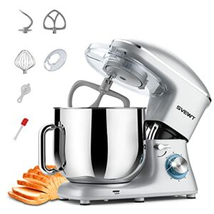 SVEWT Robot Pâtissier Multifonctions de Cuisine 660W 8L, Puissant, Métalique, Mixeur Batteur sur Scole, avec Batteur, Fouet, Crochet Pétrin, Robot de Cuisine avec Couvercle Anti-éclaboussure (Argent)