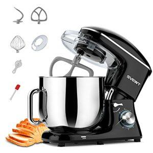 SVEWT Robot Pâtissier Multifonctions de Cuisine 660W 8L, Puissant, Métalique, Mixeur Batteur sur Scole, avec Batteur, Fouet, Crochet Pétrin, Robot de Cuisine avec Couvercle Anti-éclaboussure (Le noir)